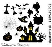 set of halloween elements and...   Shutterstock .eps vector #1159191706