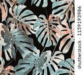 monstera leaves seamless... | Shutterstock . vector #1159193986