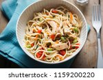 sweet chilli chicken pasta... | Shutterstock . vector #1159200220