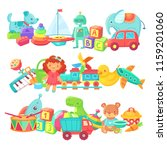 toy piles. kids toys groups.... | Shutterstock .eps vector #1159201060