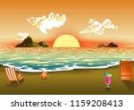 summer sea sunset wave clouds... | Shutterstock .eps vector #1159208413