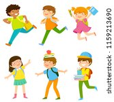 set of six cartoon kids going... | Shutterstock . vector #1159213690