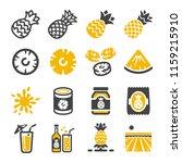 pineapple icon set | Shutterstock .eps vector #1159215910