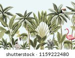 Stock vector tropical vintage animals toucan flamingo palm trees banana tree floral seamless border blue 1159222480