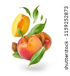 flying fresh ripe peach with... | Shutterstock . vector #1159252873
