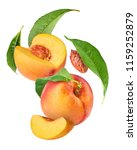 flying fresh ripe peach with... | Shutterstock . vector #1159252879