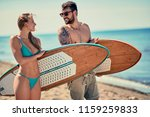 attractive man and woman... | Shutterstock . vector #1159259833