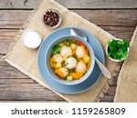 soup with meatballs in blue... | Shutterstock . vector #1159265809