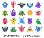 cartoon monster. cute happy... | Shutterstock .eps vector #1159273603