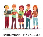 teenagers students group. young ... | Shutterstock .eps vector #1159273630
