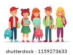 group teen pupils. school boys... | Shutterstock .eps vector #1159273633