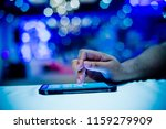 close up hand typing smartphone ... | Shutterstock . vector #1159279909