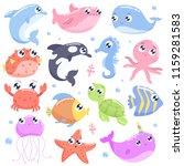 cute cartoon sea animals. flat... | Shutterstock .eps vector #1159281583