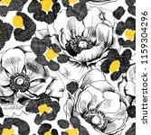 seamless pattern. anemone... | Shutterstock .eps vector #1159304296