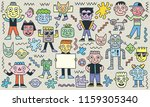 smiley faces cheese characters... | Shutterstock .eps vector #1159305340