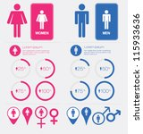 men and women gender signs set | Shutterstock .eps vector #115933636