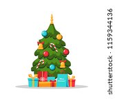 decorated christmas tree with... | Shutterstock .eps vector #1159344136