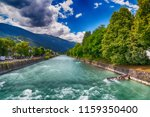 austrian small town with river... | Shutterstock . vector #1159350400