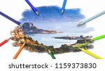 colorful wooden pencils drawing ... | Shutterstock . vector #1159373830