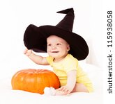 Baby Wearing A Witch's Hat Wit...