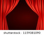 red stage curtain realistic... | Shutterstock .eps vector #1159381090
