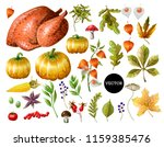 set of thanksgiving decor and... | Shutterstock .eps vector #1159385476