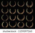 set of gold laurel wreath or... | Shutterstock .eps vector #1159397263