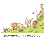 happy cartoon kids running ... | Shutterstock .eps vector #1159399129