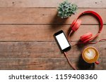 rustic wooden desk with smart... | Shutterstock . vector #1159408360
