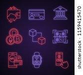 e payment neon light icons set. ...   Shutterstock .eps vector #1159415470