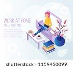 woman freelancer sitting at... | Shutterstock .eps vector #1159450099