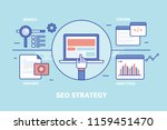 seo strategy concept including... | Shutterstock .eps vector #1159451470