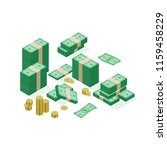 isometric banknotes dollar.... | Shutterstock .eps vector #1159458229