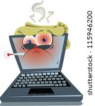 an ill laptop...maybe it's just ... | Shutterstock .eps vector #115946200
