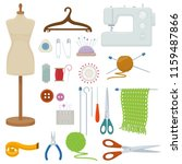 set of tools for needlework and ... | Shutterstock . vector #1159487866