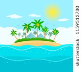 tropical island with palm trees ... | Shutterstock .eps vector #1159512730
