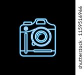 camera icon in neon style. one...