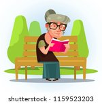 happy smiling old woman... | Shutterstock .eps vector #1159523203