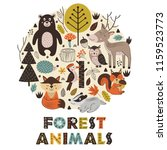 forest animals in circle... | Shutterstock .eps vector #1159523773