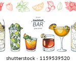 alcoholic cocktails hand drawn... | Shutterstock .eps vector #1159539520