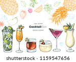 alcoholic cocktails hand drawn... | Shutterstock .eps vector #1159547656