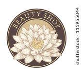 "emblem ""beauty shop"" with lotus....   Shutterstock .eps vector #115955044"