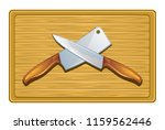 cutting board with knives on a... | Shutterstock .eps vector #1159562446