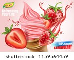 strawberry ice cream ads ... | Shutterstock .eps vector #1159564459