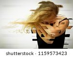 portrait of a one sad woman... | Shutterstock . vector #1159573423