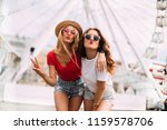 happy smiling pretty girls... | Shutterstock . vector #1159578706