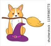 halloween illustration  corgi... | Shutterstock .eps vector #1159580773