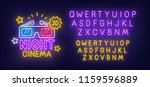 night cinema neon sign  bright... | Shutterstock .eps vector #1159596889