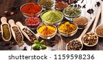 variety of spices and herbs on... | Shutterstock . vector #1159598236