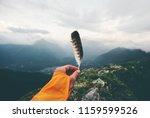 traveler hand holding bird... | Shutterstock . vector #1159599526